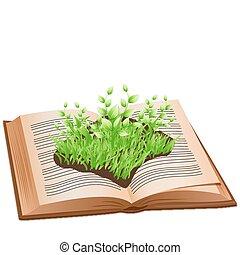 grass on open book