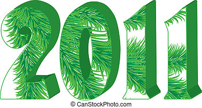 Green 3d 2011 with fir tree inside isolated on white, vector illustration