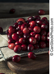Raw Red Organic Cranberries Ready to Cook With