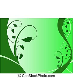 A green floral background