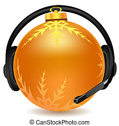headphone with christmas ball - illustration of headphone...