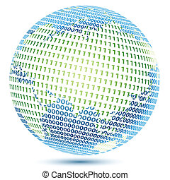 technical world - illustration of globe with binary number