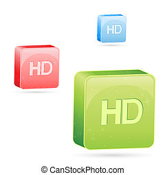 colorful hd icons - illustration of hd icons on white...