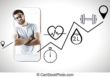 Man with health app - Handsome young european man with...