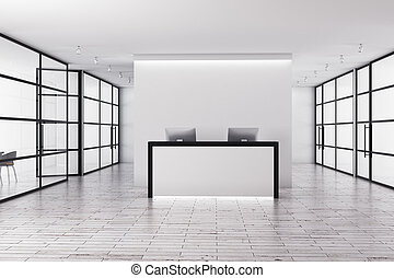 Modern reception - Modern office interior with reception...