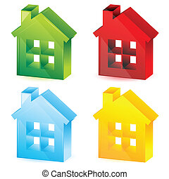 colorful houses - illustration of colorful houses on white...