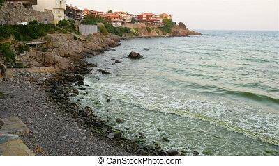 Black sea coast of Bulgaria. - Waterside houses, hotels and...