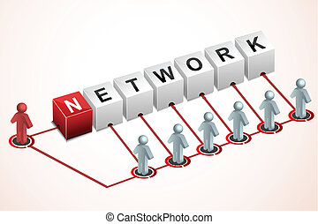 networking - illustration of networking on white background