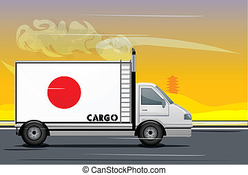 japanese lorry - illustration of japanese lorry