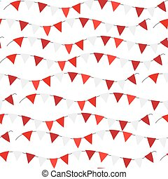 Poland Independence day seamless pattern. Red, white flags,...