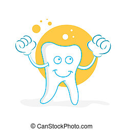 happy teeth - illustration of happy teeth on white...