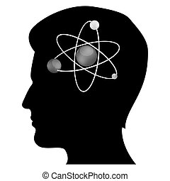 mans mind with atom - illustration of mans mind with atom on...