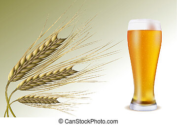 grain with beer - illustration of grain with beer