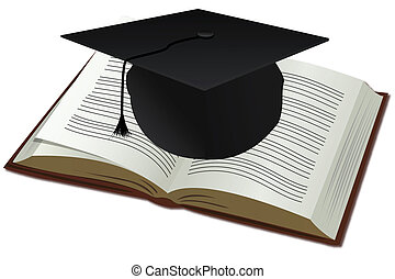 doctorate cap with book - illustration of doctorate cap with...