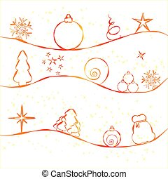 Christmas card with simple Christmas decorations on strry...