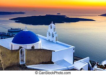 Firostefani, Santorini, Greece. Twilight with old greek...