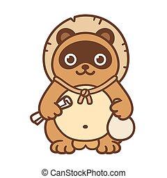 Cute Tanuki, Japaness symbol - Cute cartoon Tanuki, Japanese...