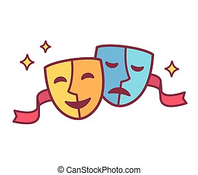 Comedy and tragedy theater masks - Traditional theater...