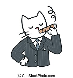 cat in business suit - Cartoon cat in business suit smoking...