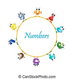 numbers - illustration of mathematical numbers on white...