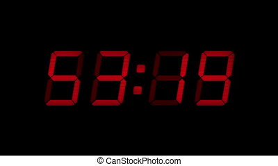 60 Second Red Digital Countdown Display - Digital timer...