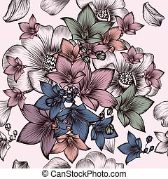 Floral pattern with engraved hand drawn flowers in vintage...