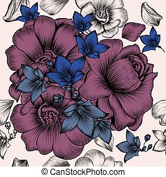 Floral wallpaper pattern with engraved hand drawn flowers in...