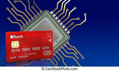 3d bank card - 3d illustration of cpu over blue gradient...