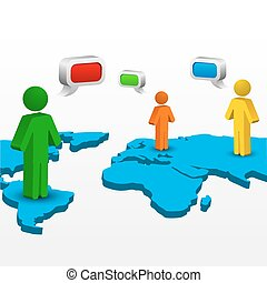 global networking - illustration of global networking on...