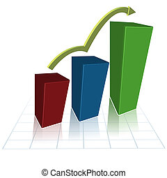 growing graph - illustration of growing graph on white...