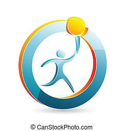 modern logo - illustration of modern logo of man with torch...