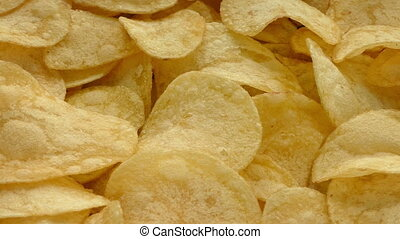 Golden Potato Chips - Closeup of crunchy potato chips