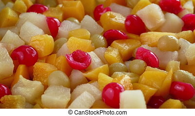 Fruit Salad Rotating Closeup - Closeup of a bowl of...