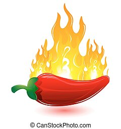red chilli with fire - illustration of red chilli with fire...