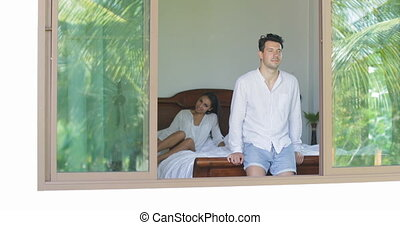 Woman Waking Up, Stretching Arms Embrace Man Looking In...