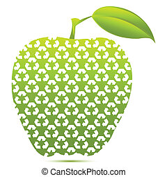 recycle apple - illustration of recycle apple on white...
