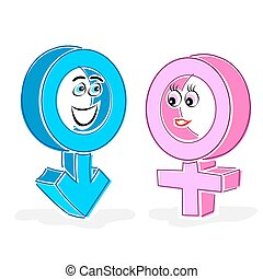 gender icons - illustration of gender icons on white...