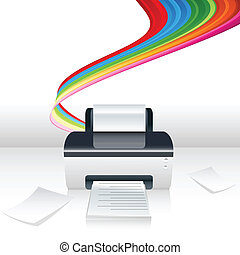 computer printer - illustration of computer printer with...