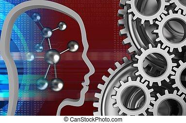3d molecule - 3d illustration of molecule over red...
