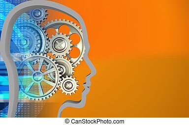 3d blank - 3d illustration of gears over orange background...