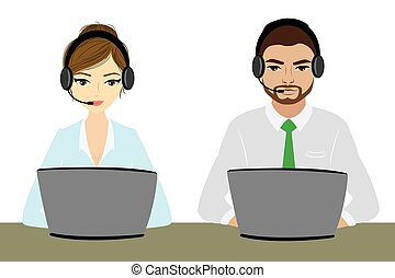 Customer service representative at computer in headset....