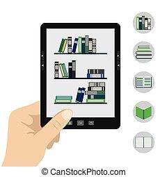 portable modern tablet e-book reader - Vector illustration...
