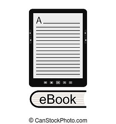 portable modern tablet e-book reader, isolated on white...