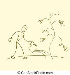 sketchy businessman gardening in bulb tree - illustration of...