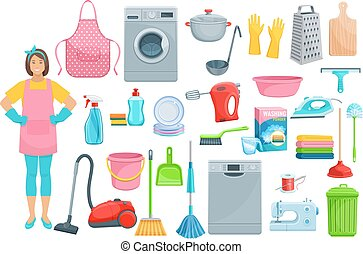 Houshold woman washing, cleaning vector icons - Homework...