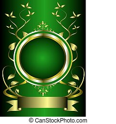 A green and gold floral design