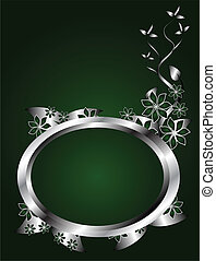 Silver and Green Floral Background