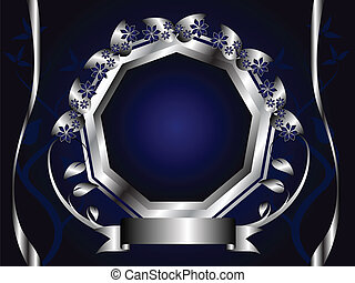 Abstract Silver and Blue Floral Background