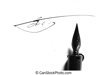 writer ink and pen - ink and pen on white paper writer