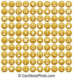 100 music icons set gold - 100 music icons set in gold...